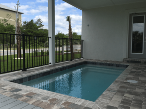 Patio pool with coping and pavers